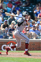 Gregory Deichmann (4) of Brother Martin High School in Metairie, Louisiana at bat during the Under Armour All-American Game on August 24, 2013 at Wrigley Field in Chicago, Illinois.  (Mike Janes/Four Seam Images)