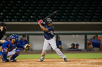 AZL Padres second baseman Eguy Rosario (1) at bat against the AZL Cubs on August 28, 2017 at Sloan Park in Mesa, Arizona. AZL Cubs defeated the AZL Padres 2 9-4. (Zachary Lucy/Four Seam Images)