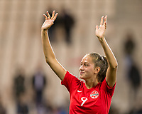 GRENOBLE, FRANCE - JUNE 15: Jordyn Huitema #9 of the Canadian National Team waves to fans during a game between New Zealand and Canada at Stade des Alpes on June 15, 2019 in Grenoble, France.