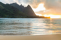 Sunset at Tunnels Beach, Ha'ena, Kaua'i.