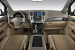 Stock photo of straight dashboard view of a 2010 Nissan Armada SE 5 Door SUV