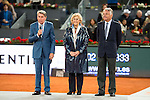 Manolo Santana (L), Madrid Mayor Manuela Carmena (C) and President of Mutua Madrileña, Ignacio Garralda (R) during  TPA Finals Mutua Madrid Open Tennis 2016 in Madrid, May 08, 2016. (ALTERPHOTOS/BorjaB.Hojas)