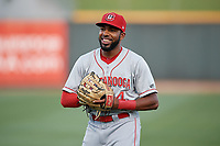 Chattanooga Lookouts Narciso Crook (4) during warmups before a Southern League game against the Birmingham Barons on May 2, 2019 at Regions Field in Birmingham, Alabama.  Birmingham defeated Chattanooga 4-2.  (Mike Janes/Four Seam Images)