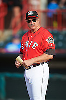 Erie SeaWolves manager Lance Parrish (13) during the lineup exchange before a game against the Richmond Flying Squirrels on May 27, 2016 at Jerry Uht Park in Erie, Pennsylvania.  Richmond defeated Erie 7-6.  (Mike Janes/Four Seam Images)