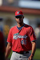 Fort Myers Miracle Johan Quezada (45) before a Florida State League game against the Lakeland Flying Tigers on August 3, 2019 at Publix Field at Joker Marchant Stadium in Lakeland, Florida.  Lakeland defeated Fort Myers 4-3.  (Mike Janes/Four Seam Images)