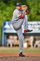 Greenville Drive starting pitcher Trey Ball #24 delivers a pitch during a game against the Asheville Tourists at McCormick Field on May 18, 2014 in Asheville, North Carolina. The Tourists defeated the Drive 3-1. (Tony Farlow/Four Seam Images)