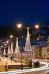 Spain, Canary Islands, La Palma, Tazacorte: centre with christmas illumination