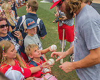 23 July 2016: Washington Nationals outfielder Jayson Werth signs autographs prior to a game against the San Diego Padres at Nationals Park in Washington, DC. The Nationals defeated the Padres 3-2 on a Stephen Drew pinch-hit, walk-off triple in the bottom of the 9th inning to tie their series at one game apiece. Mandatory Credit: Ed Wolfstein Photo *** RAW (NEF) Image File Available ***