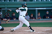 Third baseman Zach Iverson (32) of the Michigan State Spartans bats in a game against the Maryland Terrapins on Saturday, March 6, 2021, at Fluor Field at the West End in Greenville, South Carolina. (Tom Priddy/Four Seam Images)