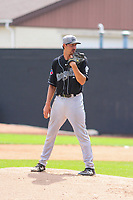 Lansing Lugnuts pitcher Kyle Weatherly (28) on the mound during a Midwest League game against the Clinton LumberKings on July 15, 2018 at Ashford University Field in Clinton, Iowa. Clinton defeated Lansing 6-2. (Brad Krause/Four Seam Images)