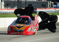 Sept 8, 2012; Clermont, IN, USA: NHRA funny car driver Jim Head during qualifying for the US Nationals at Lucas Oil Raceway. Mandatory Credit: Mark J. Rebilas-