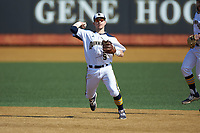 Quinnipiac Bobcats second baseman Dylan Lutz (9) makes a throw to first base against the Radford Highlanders at David F. Couch Ballpark on March 4, 2017 in Winston-Salem, North Carolina. The Highlanders defeated the Bobcats 4-0. (Brian Westerholt/Four Seam Images)