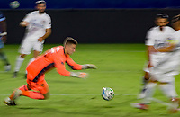 CARSON, CA - OCTOBER 18: Jonathan Klinsmann #33 GK of Los Angeles Galaxy moves to the ball for a save during a game between Vancouver Whitecaps and Los Angeles Galaxy at Dignity Heath Sports Park on October 18, 2020 in Carson, California.