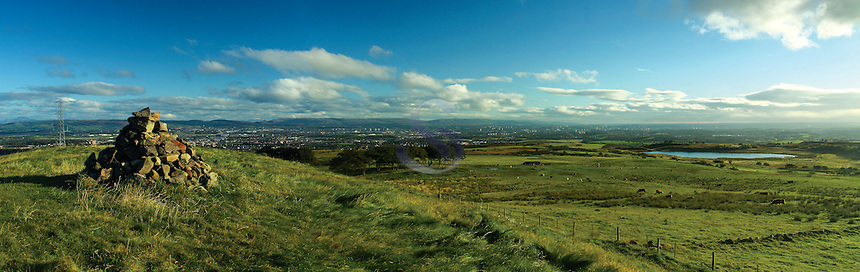 Glasgow and the Campsie Fells from Duchielaw, Fereneze Braes, Barrhead, East Renfrewshire<br /> <br /> Copyright www.scottishhorizons.co.uk/Keith Fergus 2011 All Rights Reserved