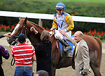 Jersey Town, ridden by Javier Castellano, wins the Kelso Handicap (GII) at Belmont Park in Elmont, New York on September 29, 2012.