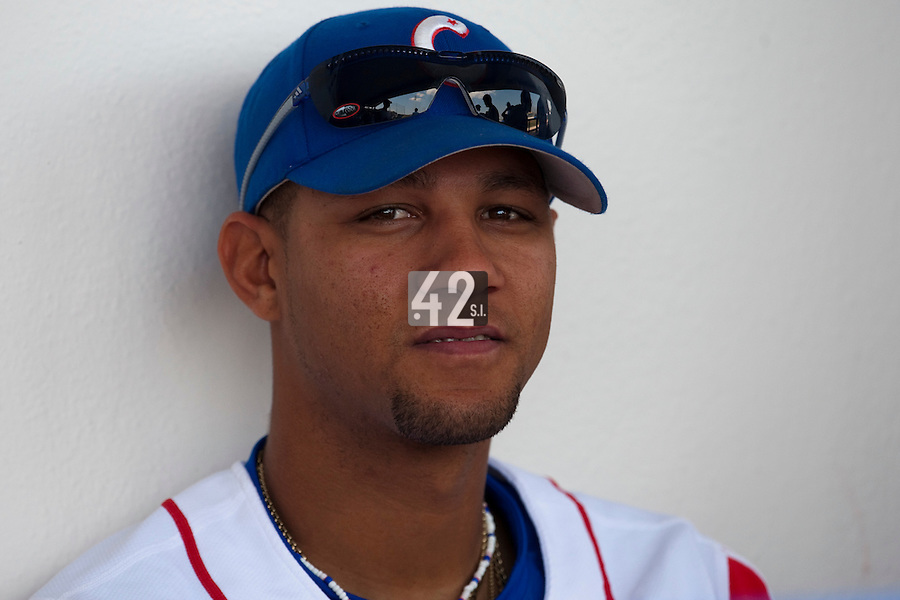 27 September 2009: Yulieski Gourriel of Cuba is seen in the dugout prior to the 2009 Baseball World Cup gold medal game won 10-5 by Team USA over Cuba, in Nettuno, Italy.