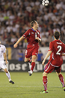 Czech Republic midfielder Jan Polak (8) heads the ball defensively. In the Send Off Series, the Czech Republic defeated the US men's national team, 4-2, at Rentschler Field in East Hartford, Connecticut, on May 25, 2010.