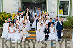 Gaelscoil Faithleann NS, Killarney pupils after receiving their First Holy Communion in the Church of Resurrection, Killarney last  Saturday pictured at the school.
