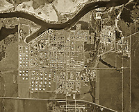historical aerial photograph of the refinery know owned by Shell Deer Park, Houston ship channel Texas, 1953