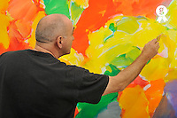 French Painter Michel Gentil at work (Licence this image exclusively with Getty: http://www.gettyimages.com/detail/84430591 )