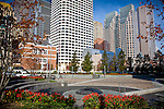View of the Financial District from Dewey Square, Boston, MA, USA