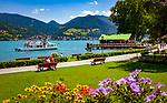 Deutschland, Bayern, Oberbayern, Tegernseer Tal, Bad Wiessee: Seepromenade | Germany, Bavaria, Upper Bavaria, Tegernseer Valley, Bad Wiessee at Lake Tegern: waterfront promenade
