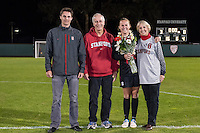 STANFORD, CA - October 21, 2012: Lindsay Dickerson with her family during the Senior Day celebration after the Stanford vs Washington women's soccer match in Stanford, California.  Stanford won 3-0.