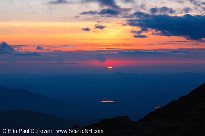 Sunset along the Appalachian Trail (Gulfside Trail) near Mount Clay in the White Mountains, New Hampshire USA during the summer months.