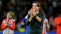 Brentford Manager, Thomas Frank, applauds the home fans at the final whistle during Brentford vs Liverpool, Premier League Football at the Brentford Community Stadium on 25th September 2021