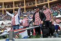 BOGOTA - COLOMBIA – 15 – 09 -2019: Fanáticos de Croacia, durante partido de la Copa Davis entre los equipos de Colombia y Croacia, partidos por el ascenso al Grupo Mundial de Copa Davis por BNP Paribas, en la Plaza de Toros La Santamaria en la ciudad de Bogota. / Fans of Croatia, during a Davis Cup match between the teams of Colombia and Croatia, match promoted to the World Group Davis Cup by BNP Paribas, at the La Santamaria Ring Bull in Bogota city. / Photo: VizzorImage / Luis Ramirez / Staff.