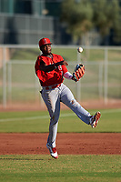 AZL Angels third baseman Julio De La Cruz (44) throws to first base during a game against the AZL Giants Orange at Giants Baseball Complex on June 17, 2019 in Scottsdale, Arizona. AZL Giants Orange defeated AZL Angels 8-4. (Zachary Lucy/Four Seam Images)