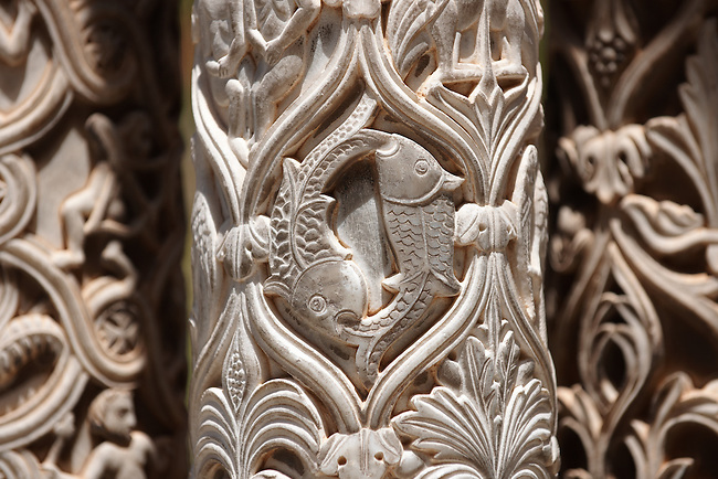 Sculpted Christian fish symbols in the columns of the cloisters of Monreale Cathedral - Palermo - Sicily Pictures, photos, images & fotos photography
