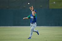 Lexington Legends right fielder Eric Cole (3) makes a running catch during the game against the Kannapolis Intimidators at Kannapolis Intimidators Stadium on August 4, 2019 in Kannapolis, North Carolina. The Legends defeated the Intimidators 5-1. (Brian Westerholt/Four Seam Images)