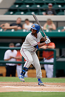 St. Lucie Mets center fielder John Mora (4) at bat during the second game of a doubleheader against the Lakeland Flying Tigers on June 10, 2017 at Joker Marchant Stadium in Lakeland, Florida.  Lakeland defeated St. Lucie 9-1.  (Mike Janes/Four Seam Images)