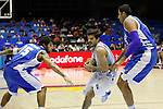 Argentina´s Laprovittola (C) and Greece´s Printezis and Bourousis during FIBA Basketball World Cup Spain 2014 match between Argentina and Greece at Sevilla stadium in Sevilla, Spain. September 04, 2014. (ALTERPHOTOS/Victor Blanco)