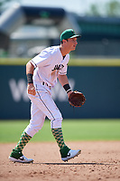 Augusta GreenJackets third baseman Jacob Gonzalez (18) during a South Atlantic League game against the Lexington Legends on April 30, 2019 at SRP Park in Augusta, Georgia.  Augusta defeated Lexington 5-1.  (Mike Janes/Four Seam Images)
