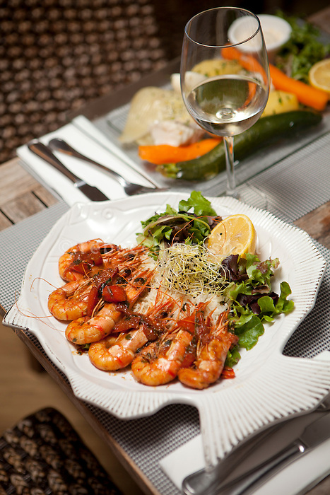 Tandoori prawns served at Achill's restaurant, Villefranche-sur-Mer, France, 7 September 2012