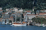 .Hvar Island. Hvar harbour. Built in the XVI  century.Cruise in Croatia. Island of Dalmatia