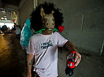 LOUISVILLE, KY - MAY 05: A man wears a horse mask with a rose on Kentucky Derby Day at Churchill Downs on May 5, 2018 in Louisville, Kentucky. (Photo by Scott Serio/Eclipse Sportswire/Getty Images)
