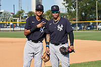 FCL Yankees Dionys Vallejo (left) and Nelson Gomez (right) before a game against the FCL Tigers West on July 31, 2021 at Tigertown in Lakeland, Florida.  (Mike Janes/Four Seam Images)