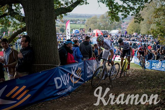 Wout Van Aert (BEL/Crelan-Charles), Toon Aerts (BEL/Telenet Fidea Lions) & Mathieu van der Poel (NED/Beobank-Corendon) in pursuit of Lars Van der Haar<br /> <br /> Elite Men's race<br /> Koppenbergcross / Belgium 2017