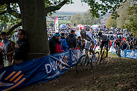 Wout Van Aert (BEL/Crelan-Charles), Toon Aerts (BEL/Telenet Fidea Lions) & Mathieu van der Poel (NED/Beobank-Corendon) in pursuit of Lars Van der Haar<br /> <br /> Elite Men's race<br /> Koppenbergcross / Belgium 2017