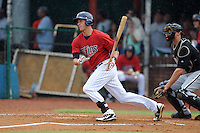 Elizabethton Twins designated hitter Bryan Harr #38 runs to first during a game against the Bristol White Sox at Joe O'Brien Field on June 20, 2013 in Elizabethton, Tennessee. The Twins won the game 3-0. (Tony Farlow/Four Seam Images)