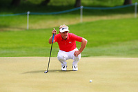 Soren Kjeldson eyes up his putt on the 4th green during the BMW PGA Golf Championship at Wentworth Golf Course, Wentworth Drive, Virginia Water, England on 28 May 2017. Photo by Steve McCarthy/PRiME Media Images.
