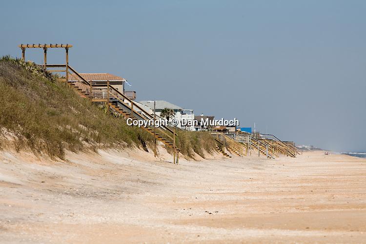 Beach houses line the shore at Ponte Vedra, Florida
