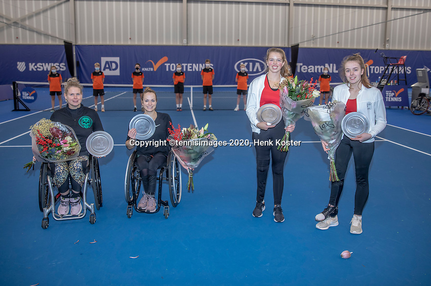 Amstelveen, Netherlands, 12  December, 2020, National Tennis Center, NTC, NKR, National   Indoor Wheelchair Tennis Championships, Women's Doubles Final :  Winners Jiske Griffioen (NED) and Michaela Spaanstra (NED) (L) and runners up Jinte Bos (NED) andLizzy de Greef (NED) <br /> Photo: Henk Koster/tennisimages.com