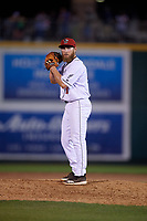 Lansing Lugnuts pitcher Cre Finfrock (31) during a Midwest League game against the Burlington Bees on July 18, 2019 at Cooley Law School Stadium in Lansing, Michigan.  Lansing defeated Burlington 5-4.  (Mike Janes/Four Seam Images)
