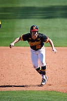 Maryland Terrapins Patrick Hisle (15) leads off first base during a game against the Alabama State Hornets on February 19, 2017 at Spectrum Field in Clearwater, Florida.  Maryland defeated Alabama State 9-7.  (Mike Janes/Four Seam Images)