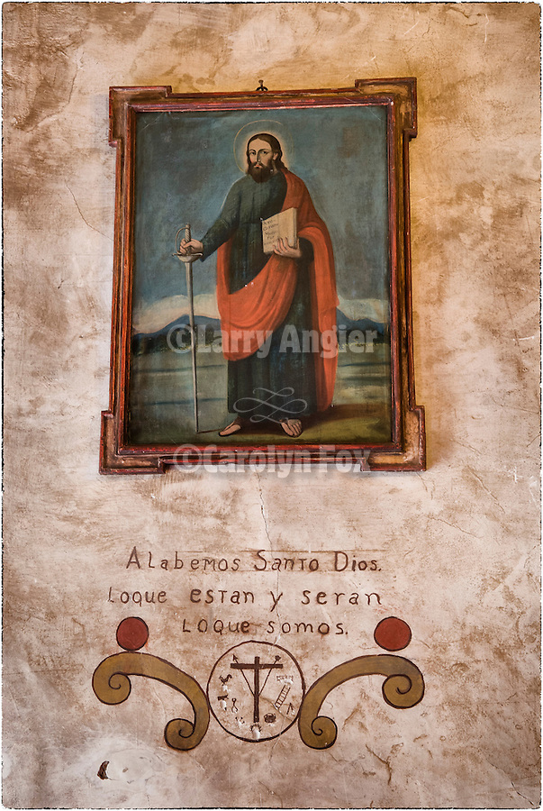 Painting of Jesus Christ with the inscription: <br /> Alabemos santo dios lo que estan y seran lo que somos<br /> (Praise God's sake what they are and will be what we are)<br /> <br /> Mission San Carlos Borromeo de Carmelo was established June 3, 1770 by Fr. Junipero Serra, second of the Alta California Missions.