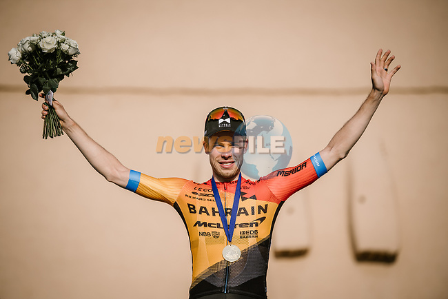Phil Bauhaus (GER) Bahrain-Mclaren wins the stage and the overall general classification at the end of Stage 5 of the Saudi Tour 2020 running 144km from Princess Nourah University to Al Masmak, Saudi Arabia. 8th February 2020. <br /> Picture: ASO/Pauline Ballet | Cyclefile<br /> All photos usage must carry mandatory copyright credit (© Cyclefile | ASO/Pauline Ballet)